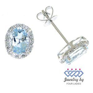 Halo Diamond Swiss Blue Topaz Earrings White Gold